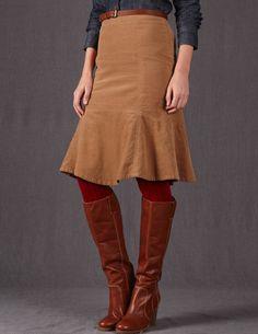 Flippy Cord Skirt - Boden.   Light tan color allows better view of godet