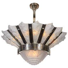 French Art Deco Sunburst Chandelier, Signed Hubens and Degue Art Deco Chandelier, Antique Chandelier, Art Deco Lighting, Chandelier Pendant Lights, Modern Chandelier, Interior Lighting, Vintage Lamps, Vintage Lighting, French Art Deco