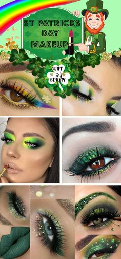 St Patricks Day Makeup Ideas - Craft and Beauty Saint Patricks Day Makeup, St Patricks Day, Irish Nails, Advent Calendar Gifts, Beauty Makeup, Eye Makeup, Makeup Inspiration, Makeup Ideas, Gold Eyeliner