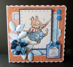 Card Companion and Sentiment from the Brambly Hedge CD from Crafter's Companion Peach Core'dinations Card Die'sire Flower Power Embossing Folder Glitter, Pearl Pen Foam Pads Collall Glue and Glue Gel