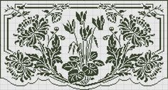 Curtain in filet crochet - Chrysanthemums and cyclamens Blackwork Cross Stitch, Cross Stitch Charts, Cross Stitch Embroidery, Cross Stitch Patterns, Crochet Curtains, Crochet Doilies, Crochet Lace, Loom Patterns, Crochet Tutorials