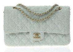 a95ce0e4bf0b77 Chanel Mint Green Tweed Double Flap Bag | Designer Vault Green Purse, Green  Handbag,