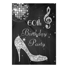 Disco Ball and Heels Black & Silver 60th Birthday Invitations