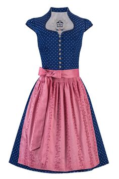Edelheiss Mini Dirndl 60er dunkelblau-rosa Nicoletta mit Ärmel 001994 | Moser Trachten + Dirndl - Bayerns größter Trachtenausstatter