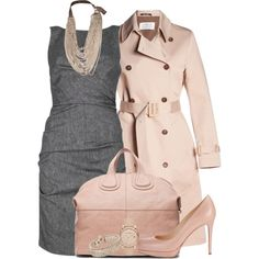 or this one.. slightly toned down - grey dress with blush shoes, handbag and faux leather jacket - will try it this week!!!