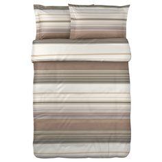 ANDREA SATIN Duvet cover and pillowsham(s) - beige/multicolor, Full/Queen (Double/Queen) - IKEA