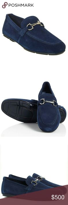 New! SALVATORE FERRAGAMO Blue Suede Bit Loafers Add a bit of luxe polish to your casual looks with these handsome suede leather buckle loafers from Salvatore Ferragamo.  Brand New With Box   Soft Suede upper  Tapered square moccasin toe  Tonal Gancini bit across vamp  Lightly cushioned leather lining  Rubber driving sole  Approximately 1⁄4 inch heel  Made in Italy  Retails for $560 Salvatore Ferragamo Shoes Loafers & Slip-Ons