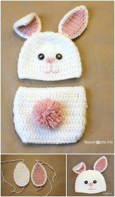 Pure White Rabbit Flower Knit Crochet Hat Bloomer Photo Prop Costume Set NB-6M