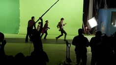 Filming the episode.