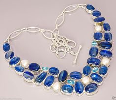 K2 GENUINE BLUE KYANITE FRESH RIVER PEARL .925 STERLING SILVER PLATED NECLACE #Handmade #Chain
