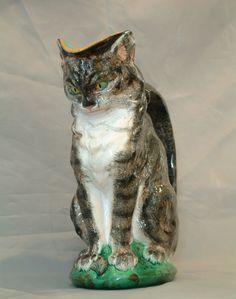 Majolica cat pitcher