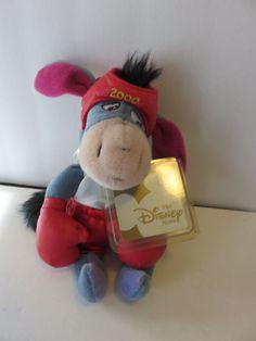 "RARE Vintage 2000 The Disney Store Plush 9"" Eeyore Boxing Mini Bean Bag with Tag"