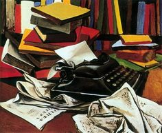 Still Life with typewriter (1951) by Renato Guttuso. The typewriter is an Art Deco inspired Remington No.5.