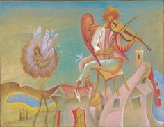 """George Kordis, Fiddler, 2007. From a series of paintings based on the poem by Seferis, """"Thrush."""""""