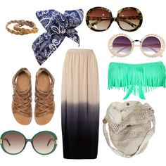 Dont forget your vintage sunglasses and fringed bikini top