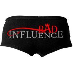 Hot Leathers Bad Influence Ladies Boy Shorts (Black, Large) ($10) ❤ liked on Polyvore featuring intimates, panties, shorts, underwear, bottoms, pajamas and black boyshorts