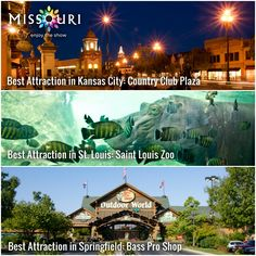 """Several Missouri attractions and destinations have been named among the """"Best in the Midwest"""" by readers of AAA Midwest Traveler magazine, including the Country Club Plaza in Kansas City, St. Louis Zoo and Bass Pro Shop headquarters in Springfield! #Missouri"""