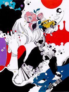 午前0時 Japanese Illustration, Graphic Design Illustration, Graphic Art, Illustration Art, Manga Art, Anime Manga, Anime Art, Graffiti Designs, Illustrations And Posters