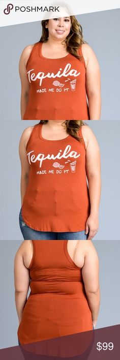*COMING SOON* Plus Size Tequila Made me Do It Tank New boutique item coming soon  Tank with front detail - Tequila made me do it  Sizes available: 1X, 2X, 3X Material:  Color: Dark Orange  Measurements:  (1X)  (2X)  (3X)   Please like this listing or comment below to be notified when product is in  Please ask if interested in preordering Tops Tank Tops