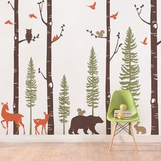 Birch Tree Wall Decal with Animals Baby Nursery Wall