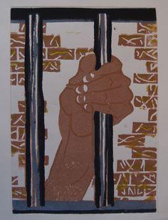 Linoleumsnede hand die tralie vasthoudt, jail.  Gemaakt door Marleen van de Kraats