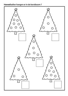 Hoeveel ballen hangen er in de kerstboom ? Christmas Worksheets, Christmas Math, Noel Christmas, Christmas Activities, Christmas Crafts, Xmas Theme, Theme Noel, Christmas Decorations For Kids, Christmas Themes