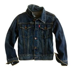 Shop the Boys' Levi's trucker jacket at J.Crew and see the entire selection of Boys' Outerwear. Find Boys' clothing & accessories at J. Jeans Levi's, Mode Jeans, Casual Jeans, Jeans Style, Girls Denim Jacket, Levi Denim Jacket, Leather Jacket, Cool Kids Clothes, J Crew Men