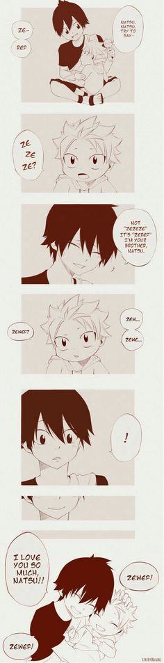 Zeref & Natsu-You're trying to make me cry aren't you? SO FUCKING CUTE! FROM FAIRY TAIL END stands for Ethenial Natsu Dragneel So basically Natsu is the most power full demon from books of Zeref. Fairy Tail Funny, Fairy Tail Love, Fairy Tail Nalu, Fairy Tail Ships, Fairytail, Gruvia, Zeref Dragneel, Gajevy, Fairy Tail Family