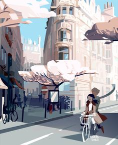 Part 8 in the paris landscape series (I have firsthand experience having someone on the back with too long legs). Spring, please come soon! Used photo ref a bit more literally than usually,...