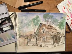 """Wood house """"Randehüsli"""" from my parents in Switzerland / Urban Sketching with Pen, Ink and Watercolor / February 2015 / Christopher"""