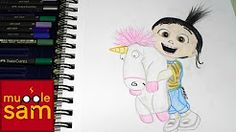 Fluffy unicorn and Agnes Gru Drawing by Sophia Mugglesam