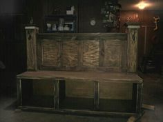 Repurposed entertainment center into nice entry way storage bench.
