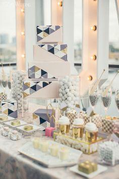 Sex And The City Wedding Inspiration, Pink and Gold Wedding Cake and Sweet Table, Geometric Wedding Cake www.elegantwedding.ca