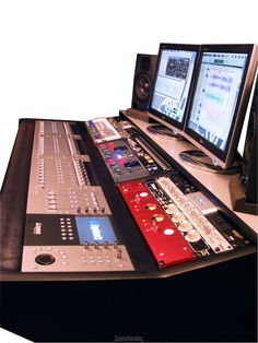 Studio desk with add your own Euphonix system and hardware.