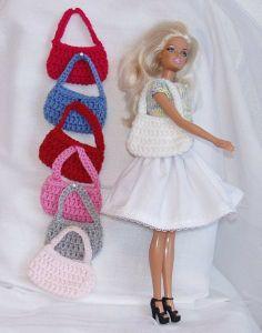 Tasjes voor de barbie, diverse kleuren.