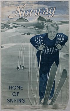 Norway Home Of Skiing, 1948 - original vintage poster listed on AntikBar.co.uk