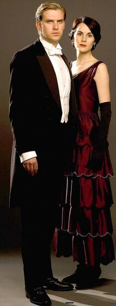 Matthew and Mary - Downton Abbey season 2.  Mary's not as fashion forward as I would like her to be, but she favors a dark palette - especially reds and blacks, that work so well with her pale complexion and her hair.