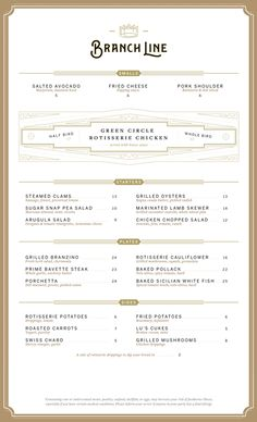 Branch Line Menu by Heart Creative Agency and Sean O'Connor | visual communication. graphic design. menu design. restaurant menu. layout. grid. hierarchy. typography.