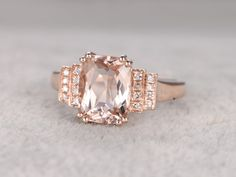 8x10mm Morganite Engagement ring Rose gold,Diamond wedding band,14k,Cushion Cut,Gemstone Promise Bridal Ring,8-Prongs,Pave Set,Handmade