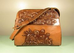 Mexican Tooled Leather Purse - Vintage Matador Rose Aztec Calendar Large Multi Pocket