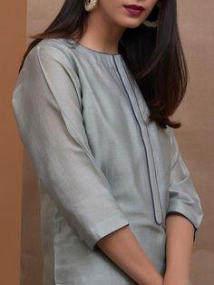 Greenish Grey Chanderi Silk Kurta with Slip and Navy Blue Cotton Silk Pants - Set of 2 Neck Designs For Suits, Neckline Designs, Sleeves Designs For Dresses, Plain Kurti Designs, Kurta Designs Women, Blouse Designs, Kurta With Pants, Silk Pants, Stylish Dress Designs