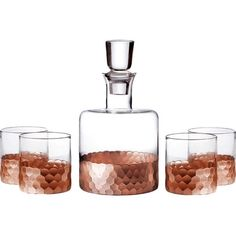 Fitz and Floyd Daphe 5 Piece Decanter and Glass Set