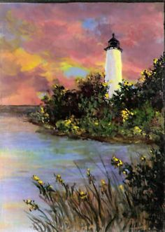 This is an original lighthouse sunset painting done on a 5x7 wood plaque. You can find my available paintings at: www.bonanza.com/booths/NaturesViews