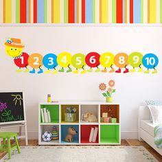 Counting Caterpillar Wall Sticker Childrens Wall Decal Baby Nursery Home Decor available in 8 Sizes Small Digital * Learn more by visiting the image link-affiliate link. Childrens Wall Decals, Nursery Wall Decals, Wall Decal Sticker, Wall Stickers, Preschool Classroom Decor, Toddler Classroom, Toddler Daycare Rooms, Childcare Rooms, Baby Room Wall Decor