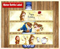 Princess Belle Water Bottle Labels, Printable Disney Princess water labels, Beauty and the Beast par Beauty And Beast Birthday, Beauty And The Beast Party, Printable Labels, Party Printables, Chip Tea Cup, Princess Theme, Disney Princess, Gender Reveal Party Decorations, Water Party