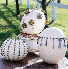 Check out our unique pumpkin decorating ideas. This Halloween, your front porch will be sporting a new take on the traditional jack-o'-lantern. Check out these new ways to paint, sculpt, and embellish your pumpkins. Halloween Pumpkin Stencils, Halloween Pumpkins, Pumpkin Carving, Halloween Halloween, Diy Easter Decorations, Halloween Decorations, Pumpkin Uses, Scary Pumpkin, Pumpkin Crafts