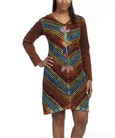 Loving this Brown & Fuchsia Slash Appliqué Shift Dress on #zulily! #zulilyfinds