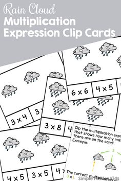 Enjoy this cute printable introduction to multiplication with elementary students in second grade: Rain Cloud Multiplication Expression Clip Cards work on fine motor skill and math concepts at the same time. Multiplication Activities, Math Worksheets, Math Resources, Number Activities, Classroom Activities, Help Teaching, Teaching Math, Elementary Math, Kindergarten Math