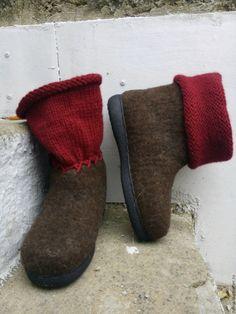 Купить Войлочная обувь . Валяние +вязание 39 р. - войлочная обувь, войлок ручной работы