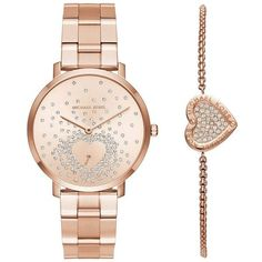 Michael Kors Two-Piece Jaryn Rose Goldtone Stainless Steel Bracelet... ($295) ❤ liked on Polyvore featuring jewelry, watches, accessories, bracelets, rose gold, stainless steel watches, water resistant watches, engraved heart charm, watch bracelet and stainless steel jewelry